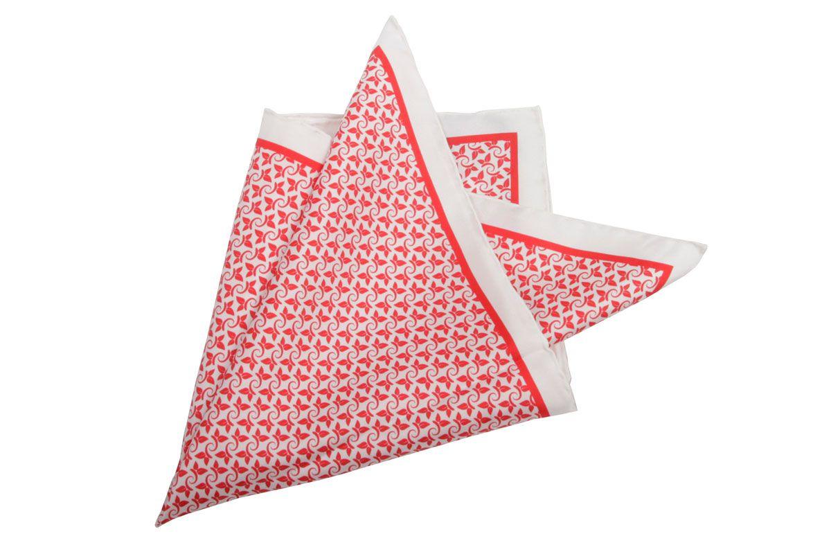 Pañuelo bolsillo hojas pequeñas rojo y blanco. Soloio