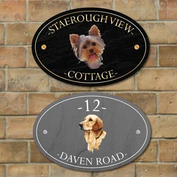 Show Details For Oval Personalised Dog House Name Plaque Dog House