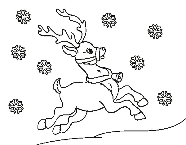 Dibujo De Reno De Navidad Para Colorear Dibujos De Renos Reno Dibujos De Navidad