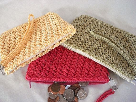 Coin Purse w/ Wrist Strap Crocheted Charming by FunCrochetDesigns ...