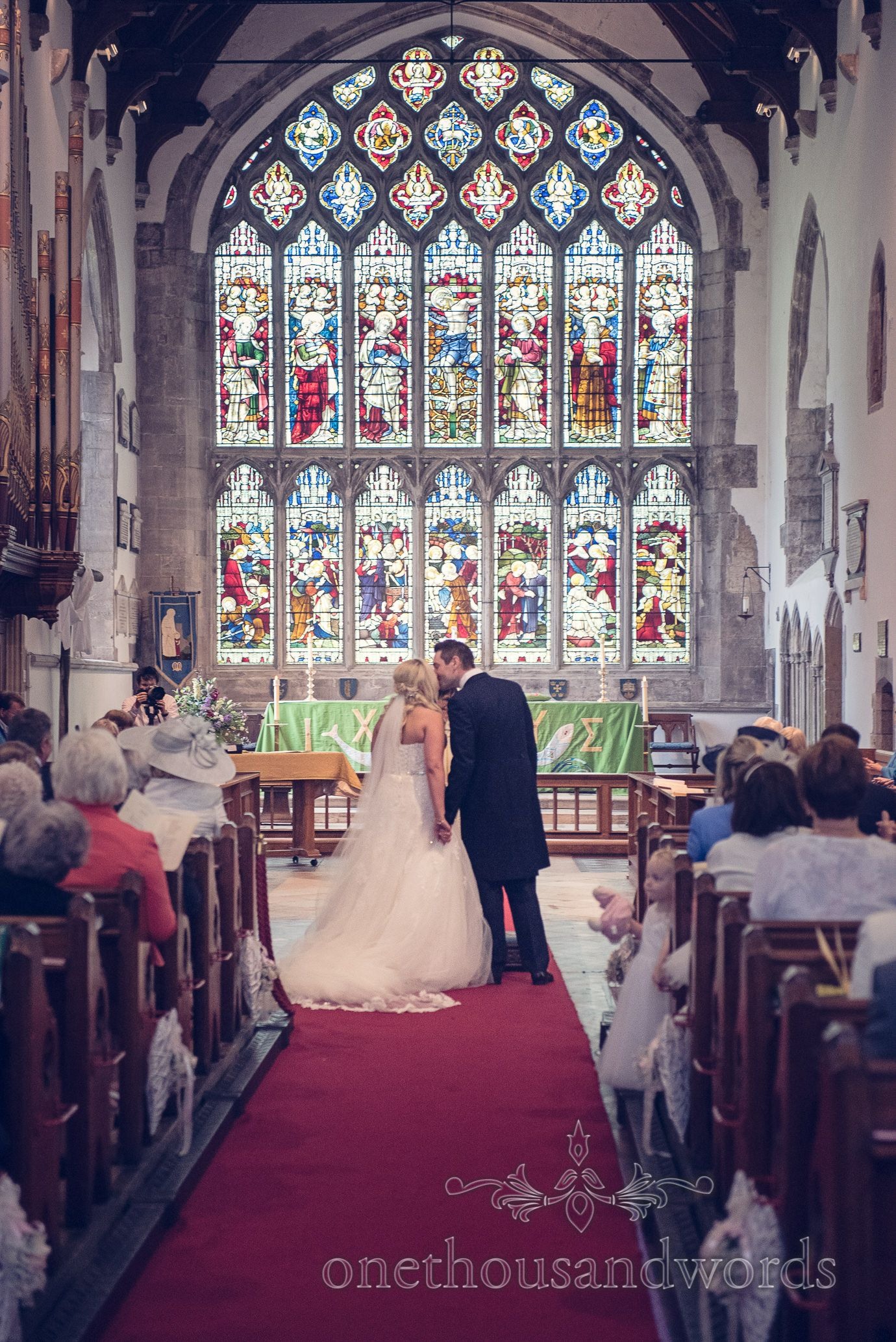 First Kiss At St Marys Church Wedding In Wareham Dorsetotography