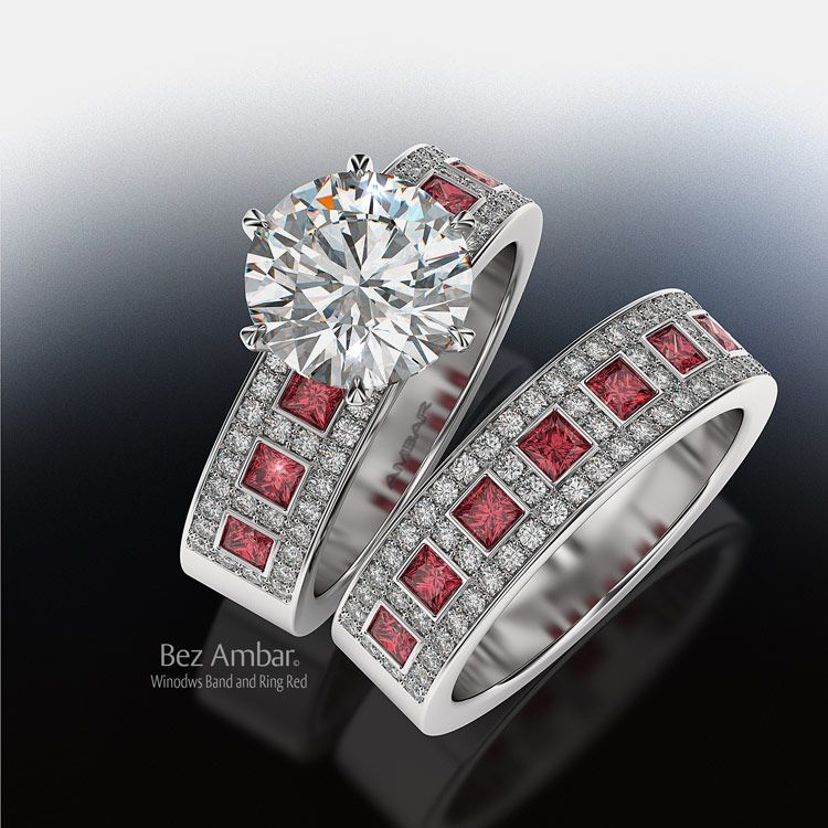traditional round center stone and modern band pattern with pave twist channel heart diamond wedding set with ruby - Ruby Wedding Ring Sets