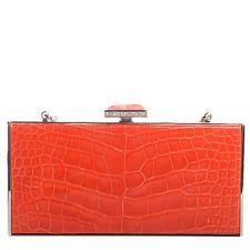JUDITH LEIBER Crocodile Austrian Crystal Box Clutch Evening Bag Purse Tangerine