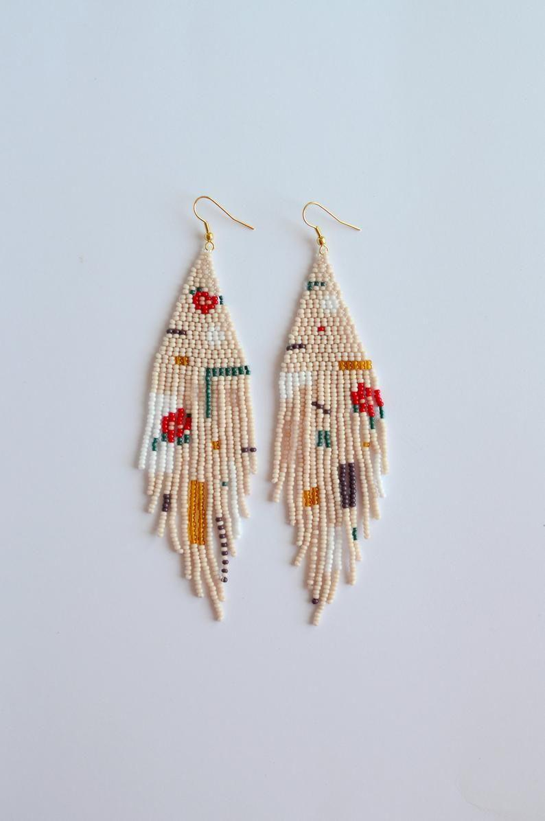 Golden black polka dot earrings Beaded Fringe earrings Bohemian wedding earrings Bridal earrings Boho chic jewelry long seed bead earrings