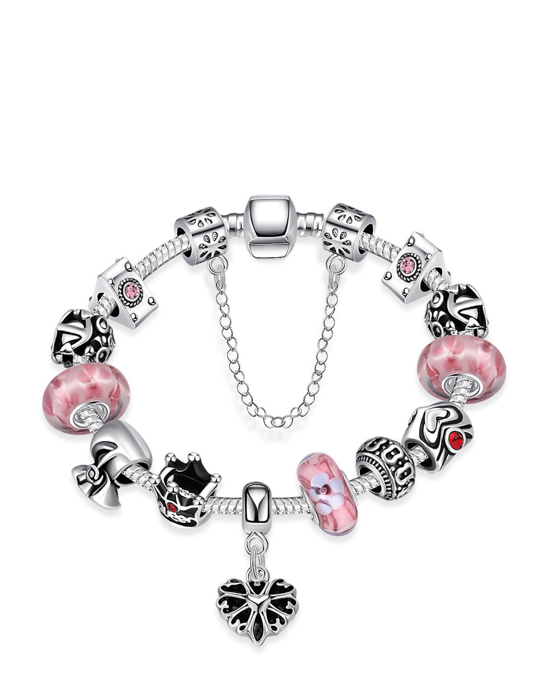 #AdoreWe #VIPme Bracelets & Bangles - Rich Long Pink Crystal Lucky Silver Plated Chain Charm Bracelet - AdoreWe.com