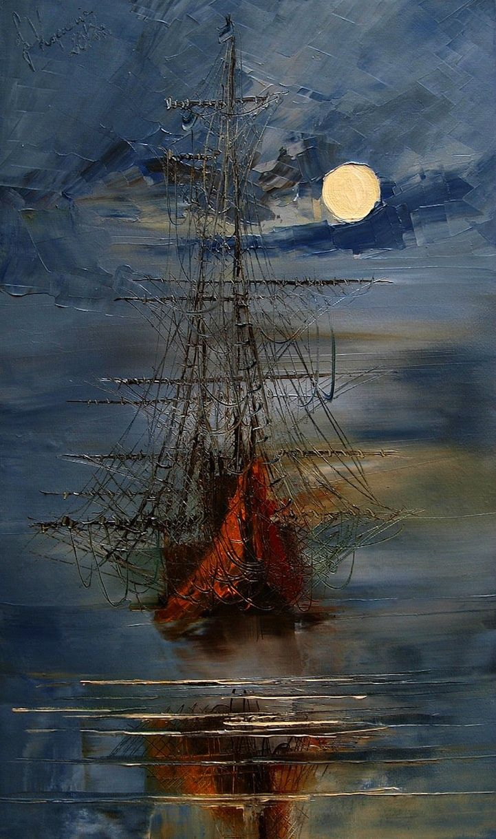 .Sailing ship - every brush stroke counts