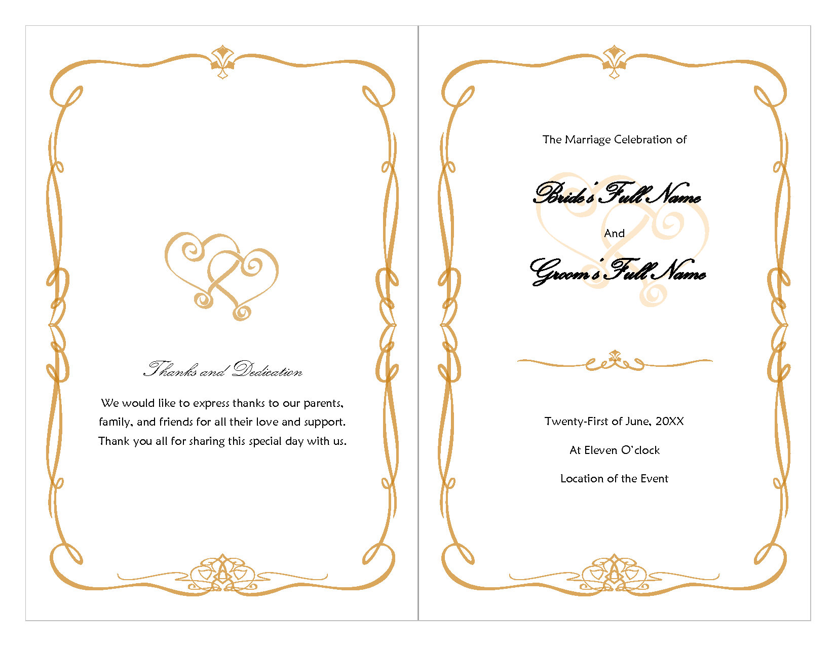 Fan Template Free Download Wedding Program Template Doc Doc