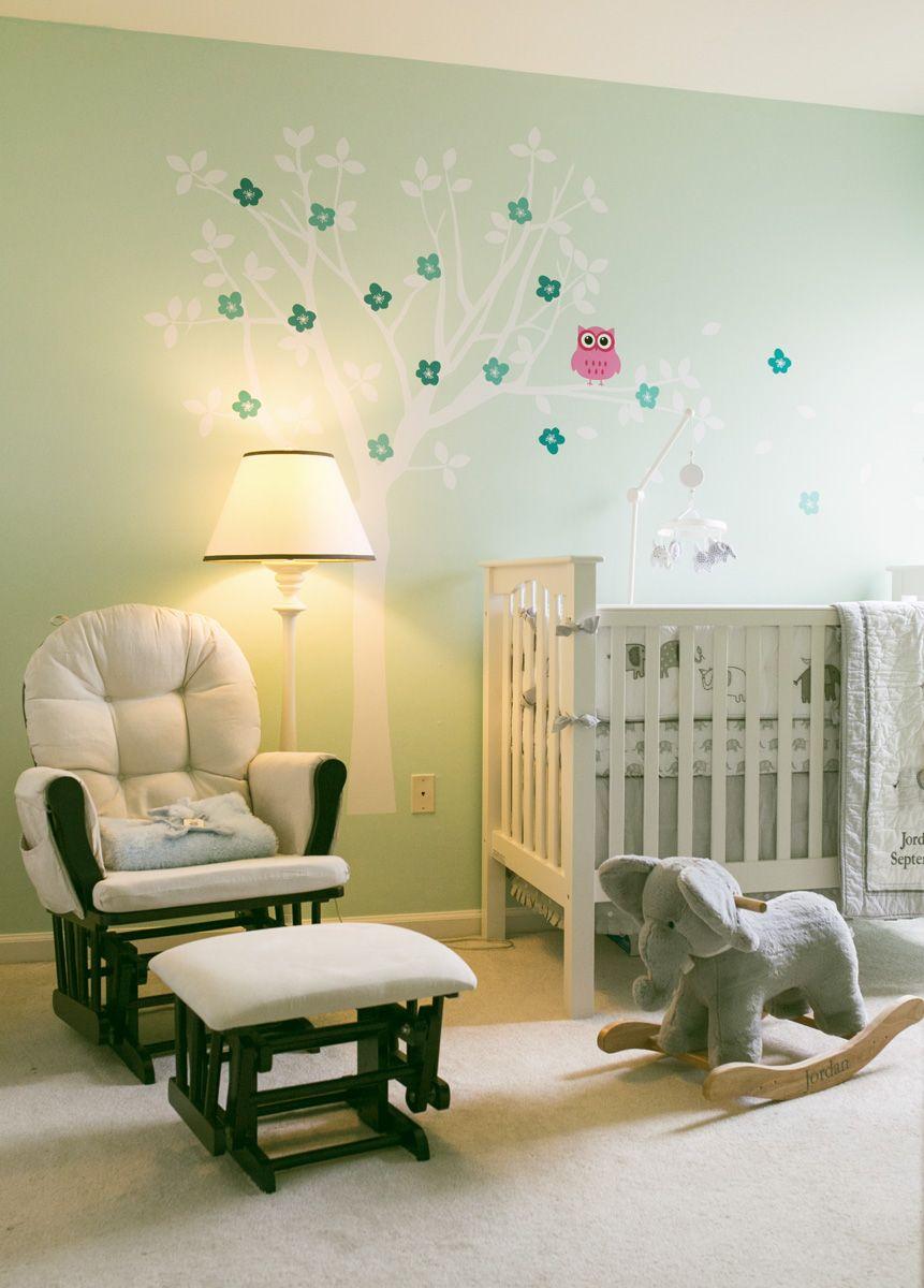 Jordan\'s mint, grey, white and elephant themed nursery room.   Hanna ...
