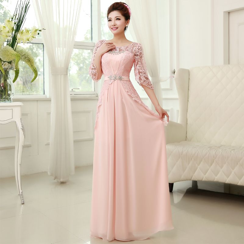 New Double-shoulder lace sleeves evening dress elegant party dress ...