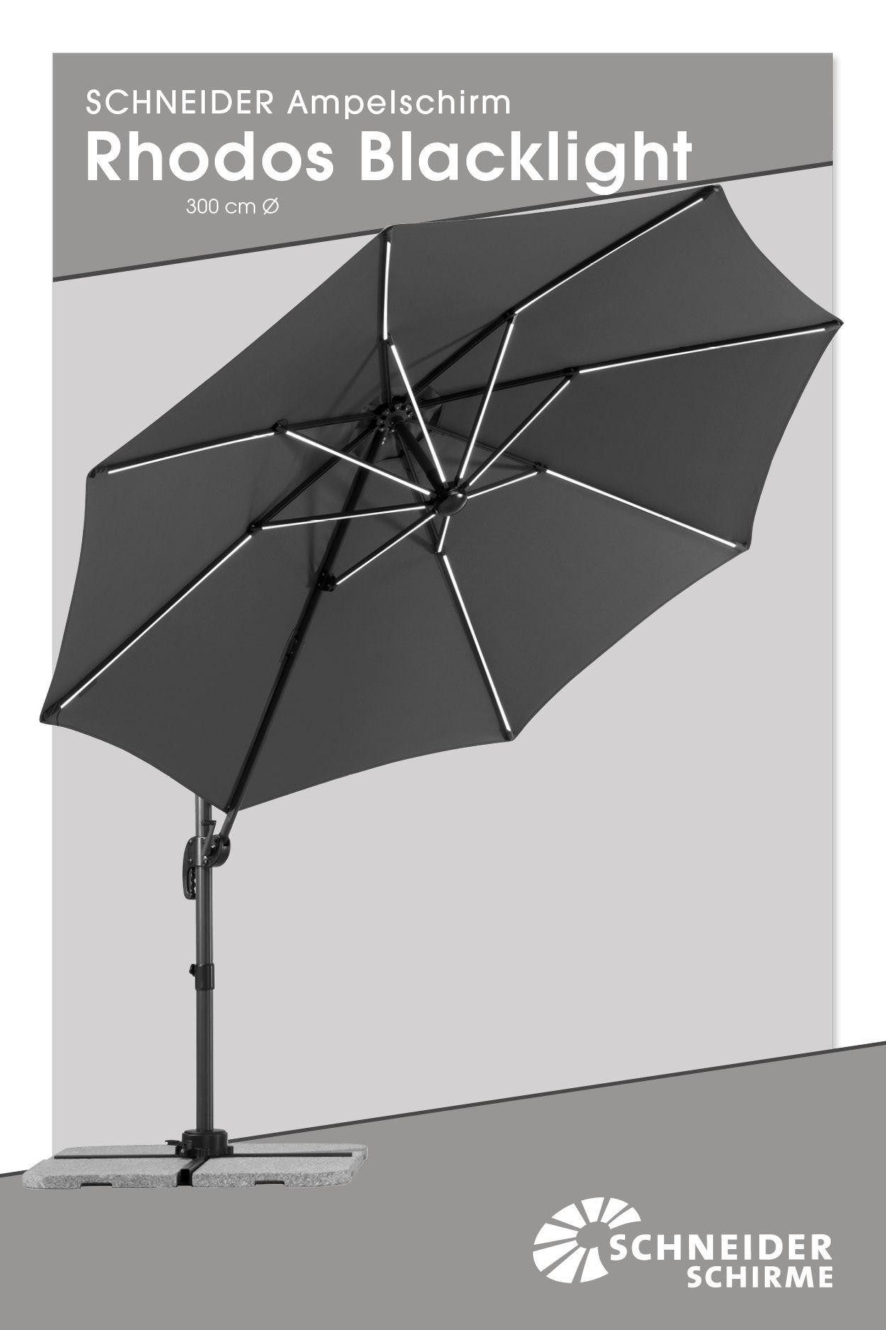 Ampelschirm Rhodos Blacklight 300 Cm O Bespannung 100 Polyester