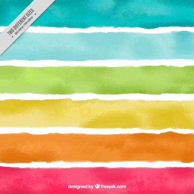Fondo de la acuarela de rayas de colores Vector Gratis