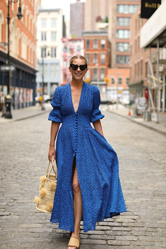 Fashion blogger Blair Eadie wears a blue Cult Gaia dress in Soho NYC // Click through to see more shots and summer dress outfit inspiration on Atlantic-Pacific #summerdresses