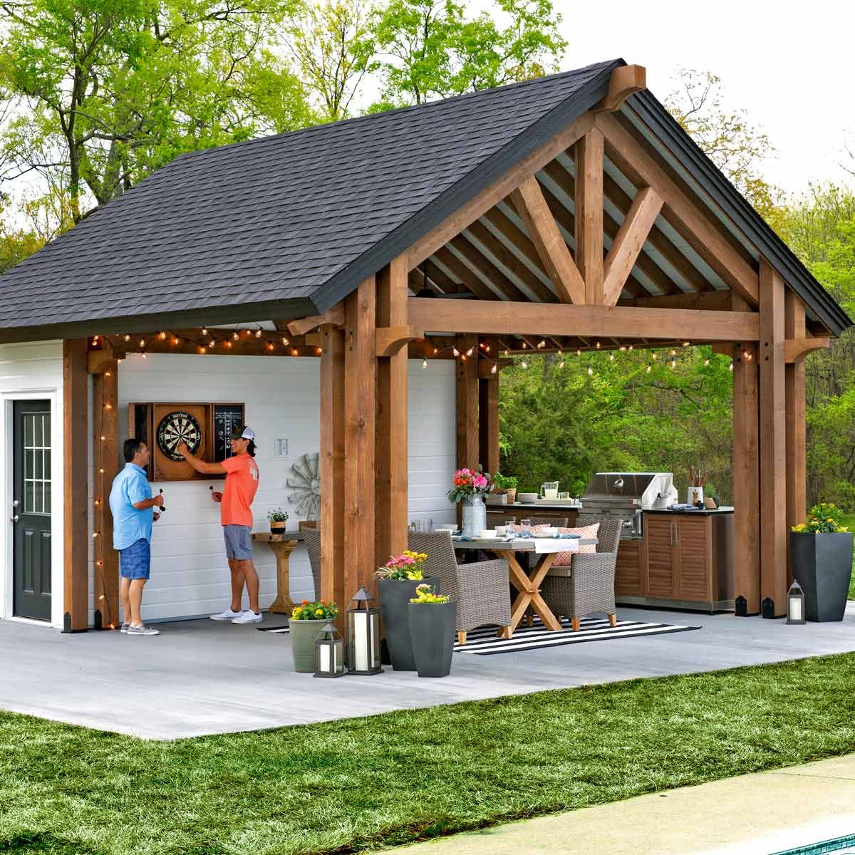 Outdoor Kitchen Pavilion Shed In 2020 Building A Shed Outdoor