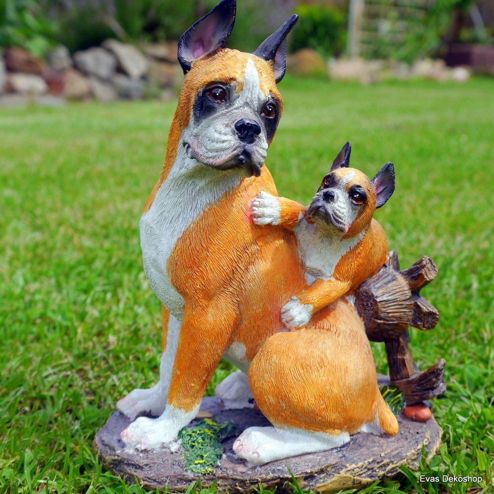 Details zu Gartenfigur Boxer mit Welpe Hund Hunde