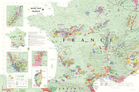 France Wine Map Poster Posters bij AllPosters.nl