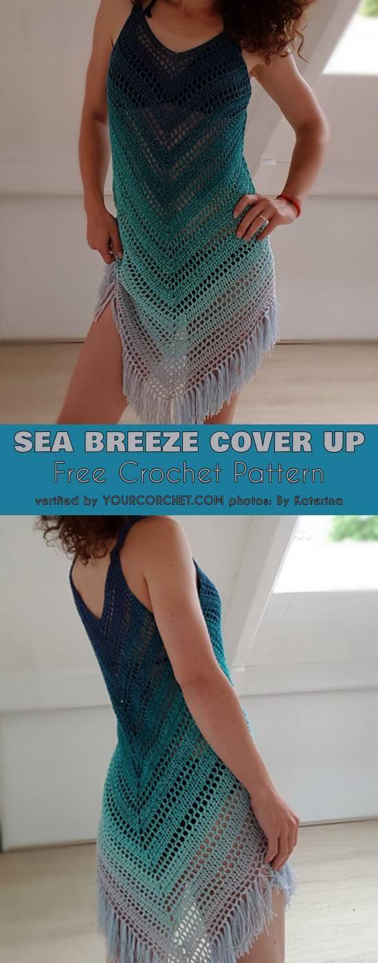Sea Breeze Cover Up Free Crochet Pattern Crochet Summer Dresses Crochet Summer Tops Crochet Dress Pattern Free