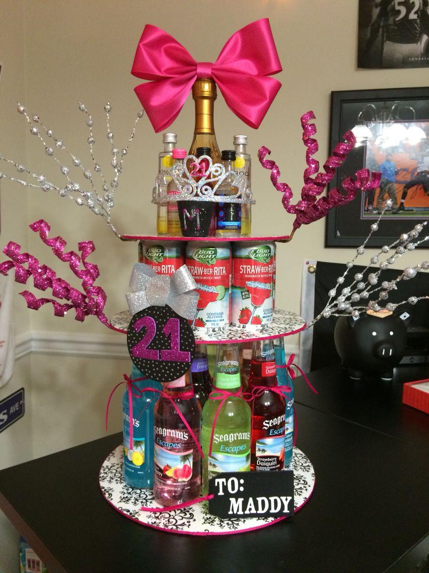 21st Birthday Alcohol Cake Diy 21st Birthday Cake