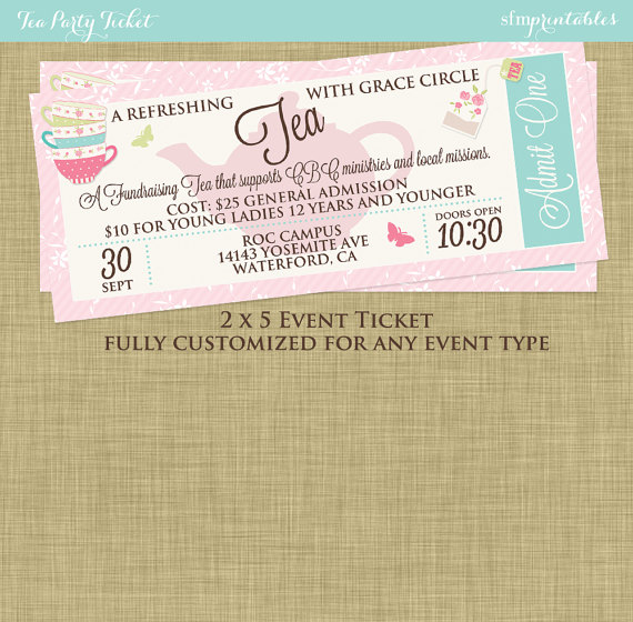 Tea Party Social Event Ticket Template Church School Community Etsy Event Ticket Template Ticket Template Tea Party