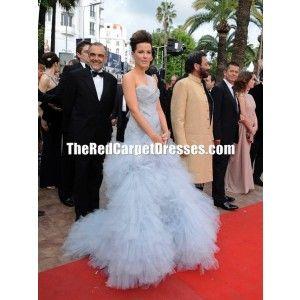 """Kate Beckinsale Blue One-shoulder Tulle Dress """"Robin Hood"""" Premiere Cannes 2010 Red Carpet"""