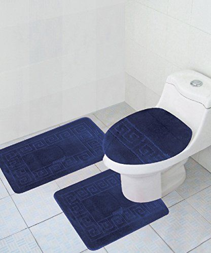 3 Piece Bath Rug Set Pattern Bathroom Rug 20 X32 Large Contour Mat 20 X20 With Lid Cover Bathroom Rug Sets Bathroom Rugs Bath Rugs Sets