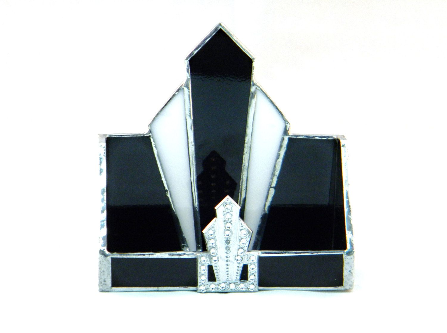 Art Deco Style Stained Glass Business Card Holder, Black, White ...