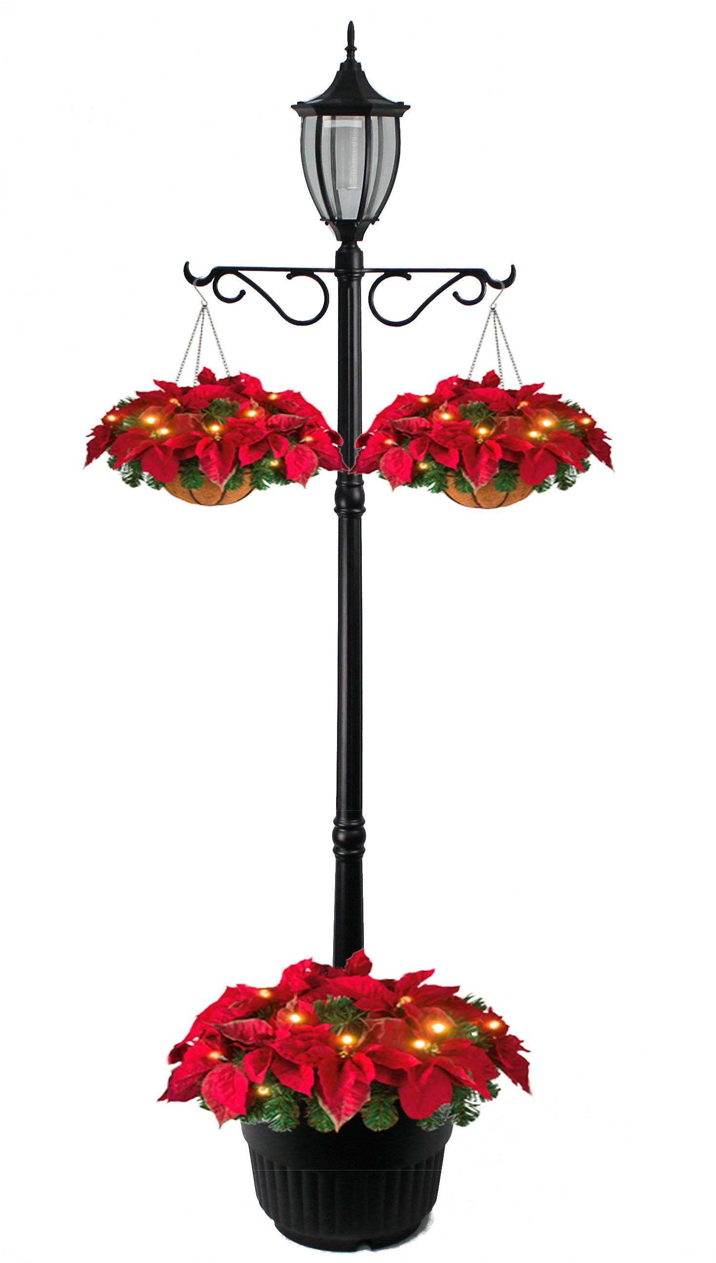 SunRay Cresmont Solar Lamp Post and Planter, with Hanger, Black, Single Head by SunRay