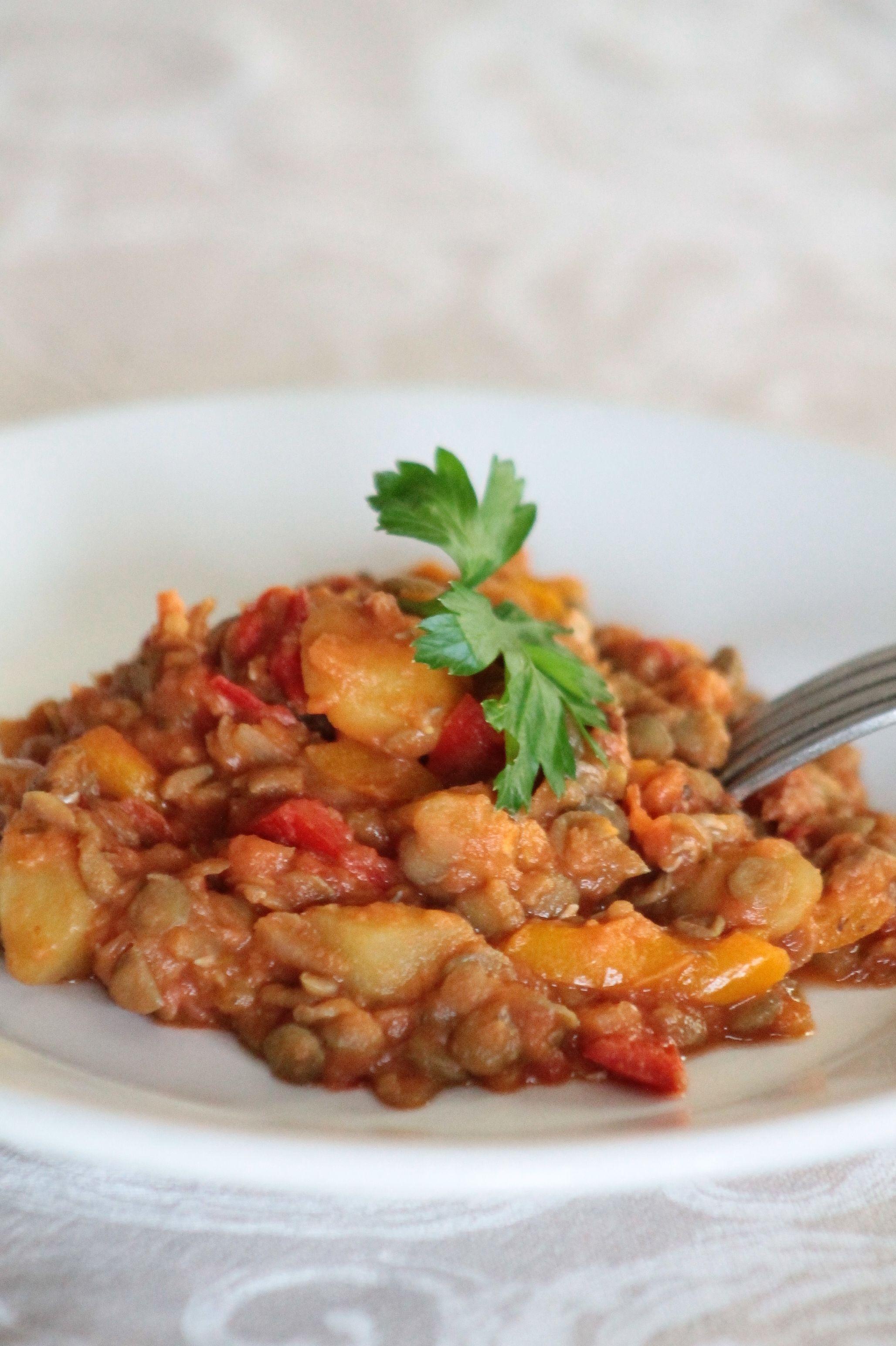 lenticchie e patate in umido #ricetta #lenticchie #patate  #recipes #lentils #potatoes and #vegetables stew