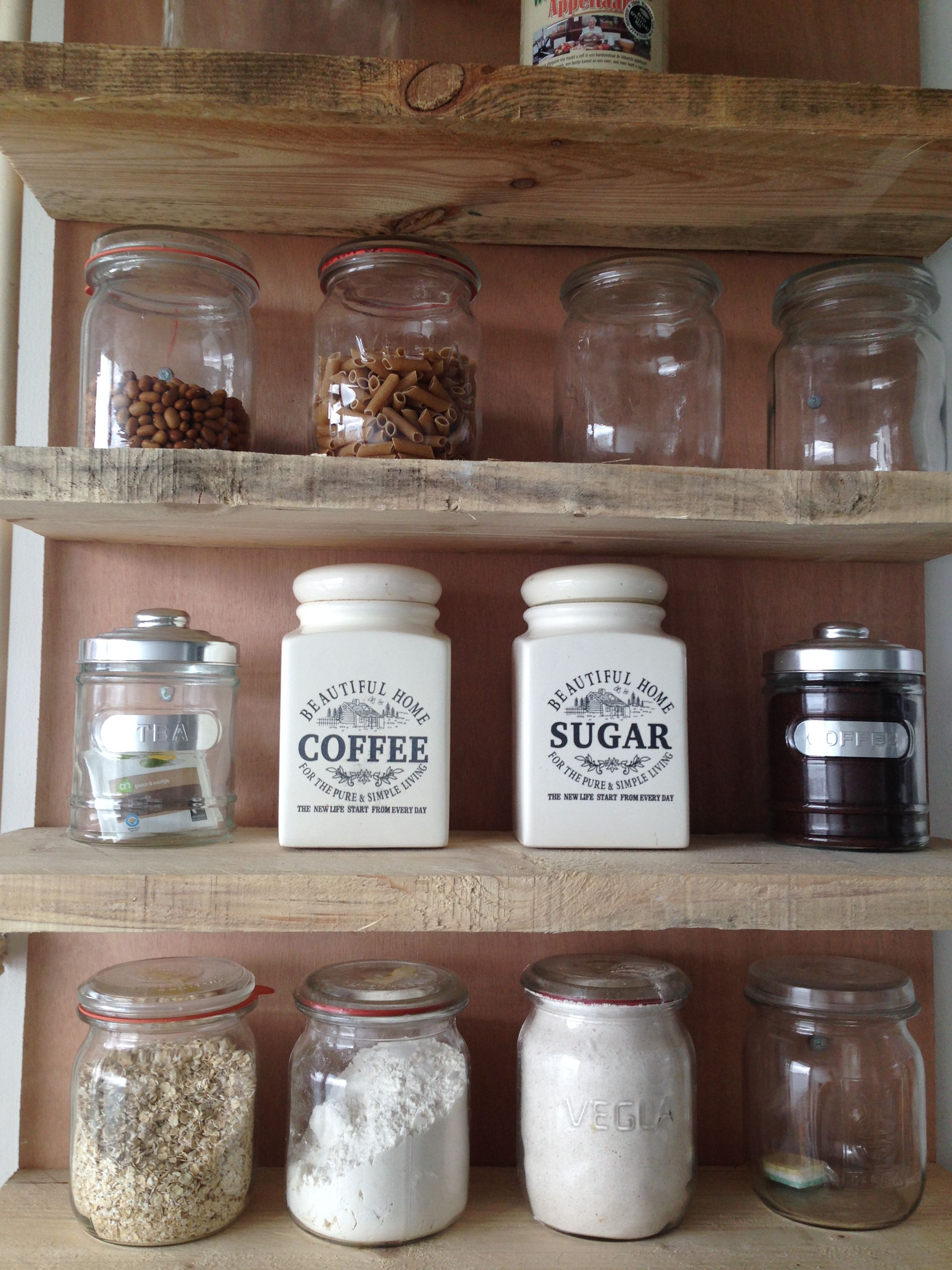 Space in the kitchen by adding shelves and glass canisters with seals - Country Store Kitchen Shelves Creating Pantry Space In The Kitchen By Adding Shelves And Glass