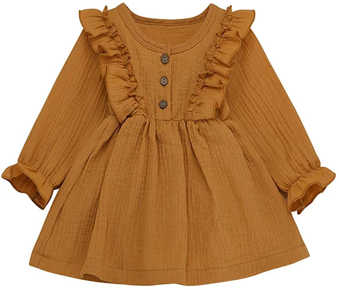 Tianhaik 1 5t Toddler Baby Girl Ruffle Dress Princess Long Sleeve Cotton Linen Skirt Outfit Yello Toddler Girl Dresses Toddler Girl Outfits Girls Ruffle Dress [ 1000 x 1169 Pixel ]