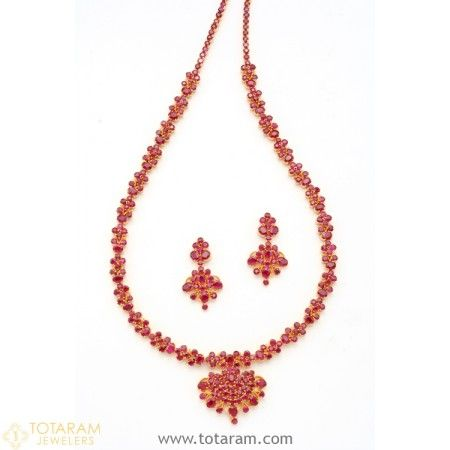 45a6bdfcb0 22K Gold Rubies Necklace & Drop Earrings Set - 235-SET251 - Buy this Latest  Indian Gold Jewelry Design in 65.000 Grams for a low price of $4,730.99
