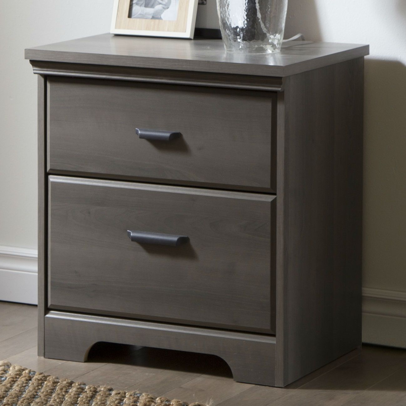 You will love this drawer bedroom nightstand in gray maple wood