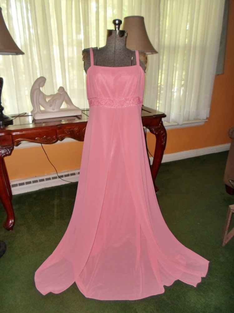 Chadwicks Evening Cocktail Dress Sz 14 Coral Pink Beaded With Scarf