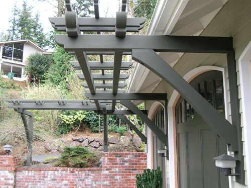 Pergola Over Garage   Would Be Functional For Water Collection System.  Black Garage Door Too