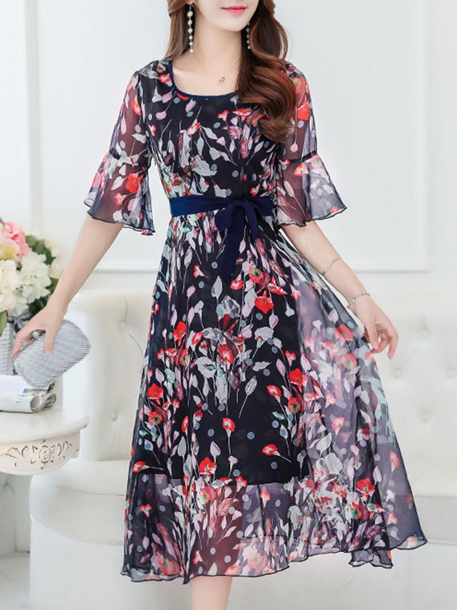Bell sleeve hollow out floral printed chiffon maxi dress most