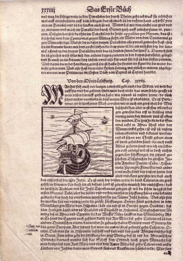 "Sailing and Geography. Woodcut, 16th cent. Navegación y Geografía. Xilografía. s.XVI. ""Der Cosmography"", Münster, humanism."