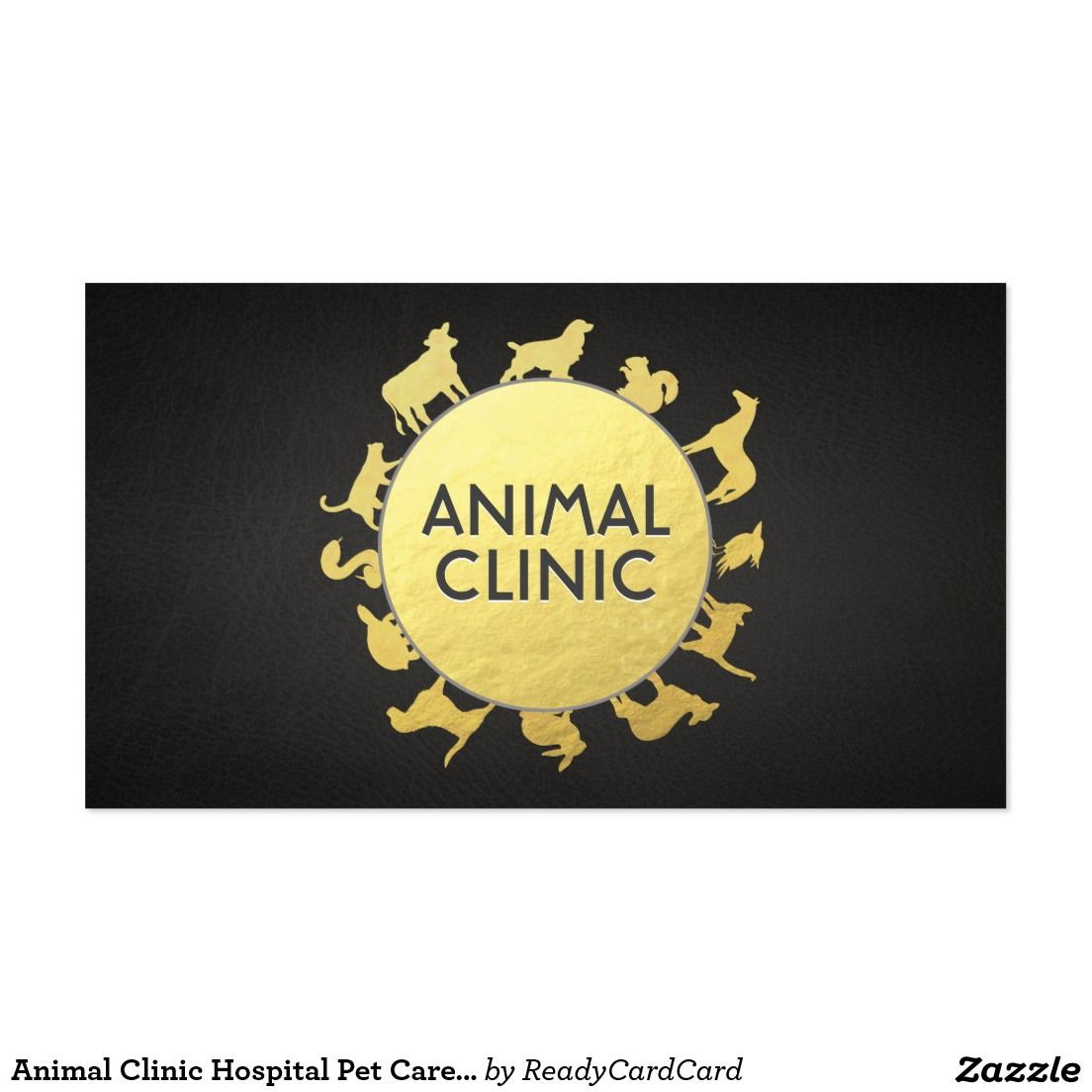 Animal Clinic Hospital Pet Care Sitter Gold Animal Business Card ...
