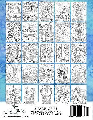 Adult Coloring Book of Mermaids Mythical  Mystic Fantasy Aquatic dolphins NEW