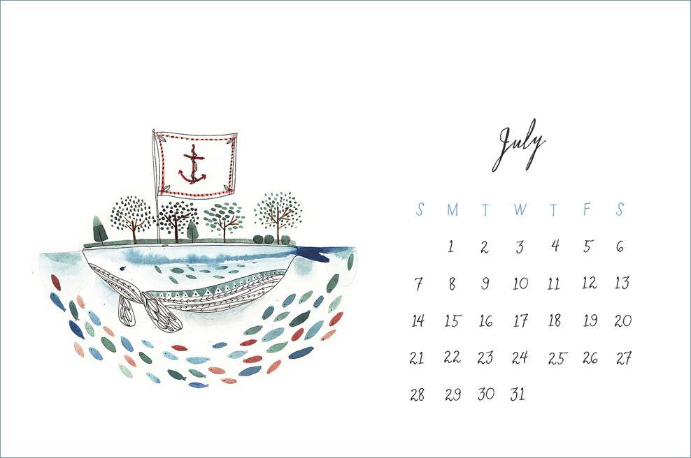 8 calendarios para Julio 2013 (imprimibles + wallpapers)