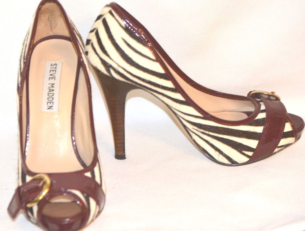 "Sz 5.5 Steve Madden High End Open Toe Brown Zebra Stripe Buckle 4.5"" Stilettos  #SteveMadden #Stilettos"
