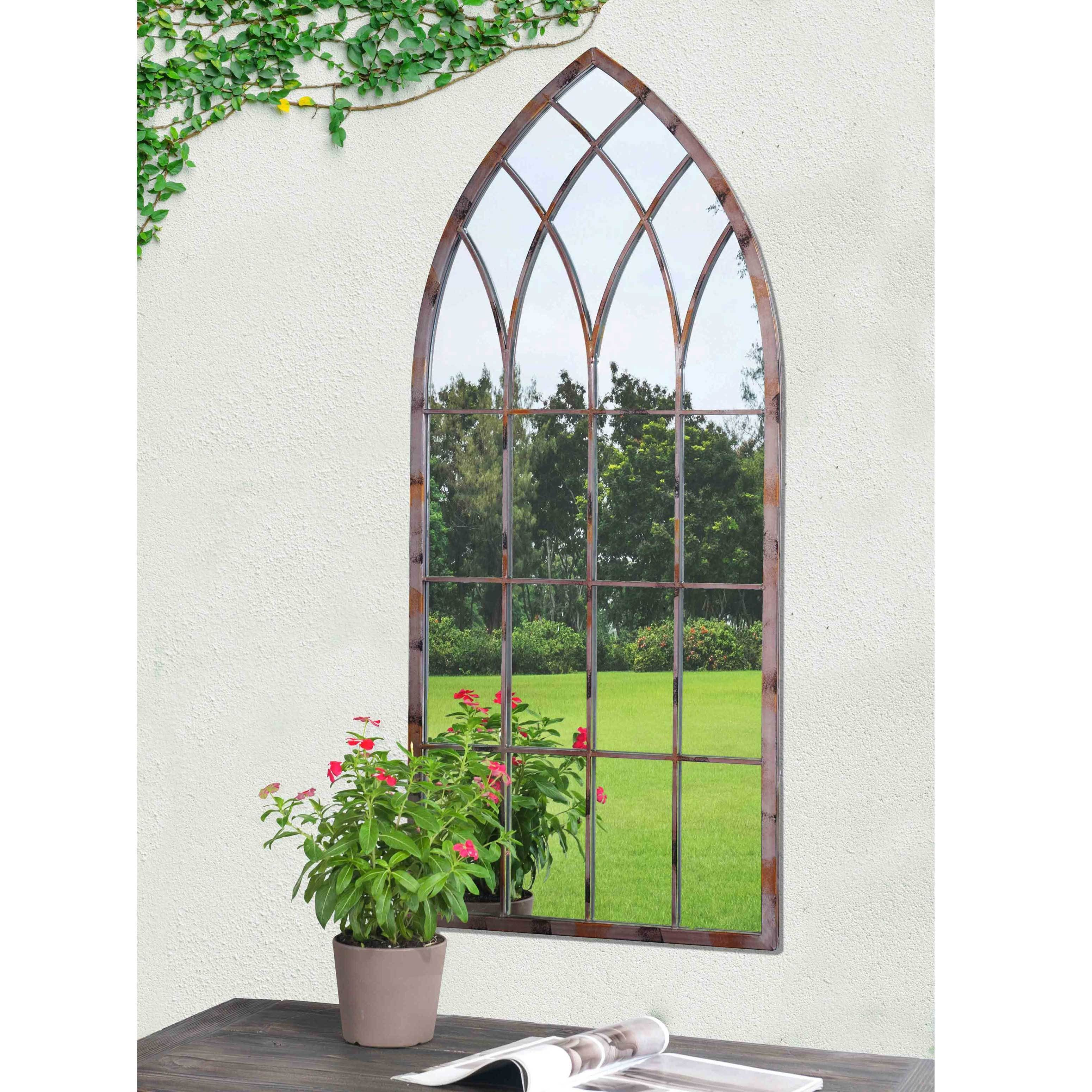 Sunjoy Cathedral Windowpane Style Garden Mirror Made of Metal with ...