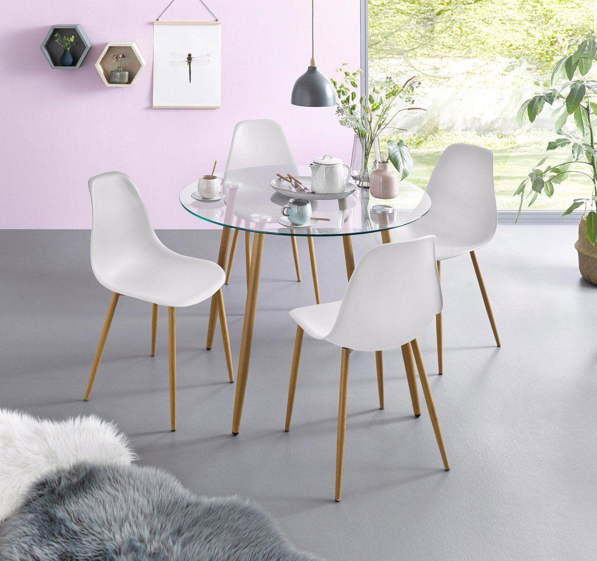 Essgruppe Set 5 Tlg Glastisch Mit 4 Stuhlen Kunststoffschale