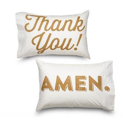Where the Polka Dots Roam Thank You & Amen 2 Piece Ultra Mircofiber Pillowcase Set