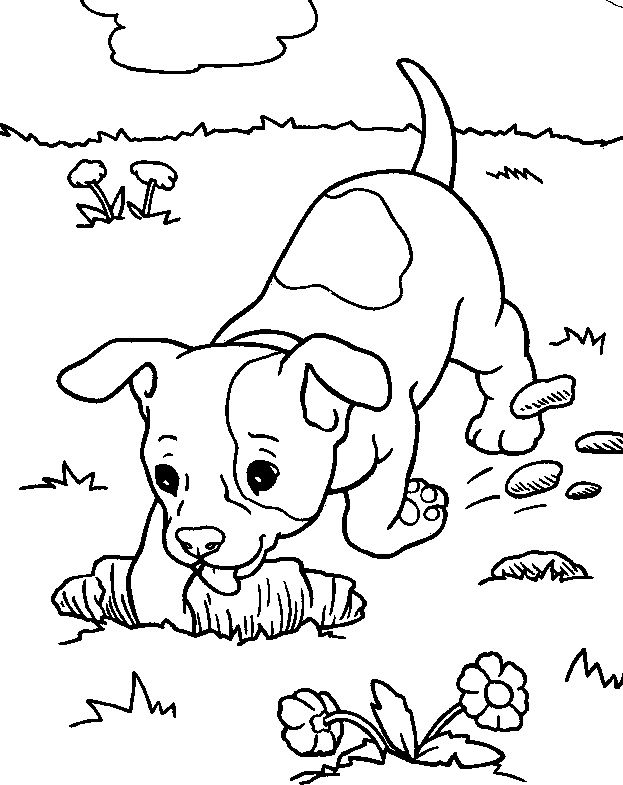 Dog Digging A Hole Coloring Page Coloring Pages Dog Coloring