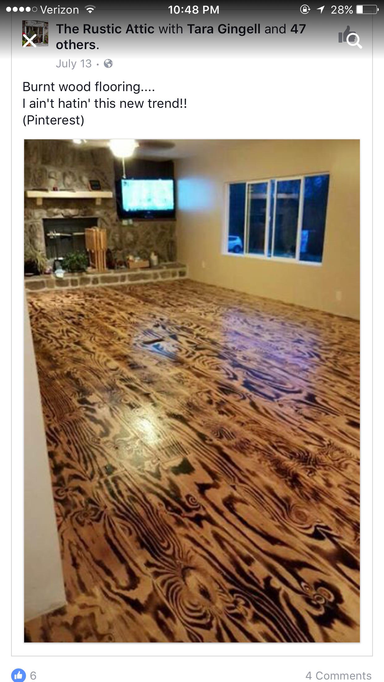 Pin By Teresa Jones On Floors Burnt Plywood Floor Cheap Home Decor Flooring