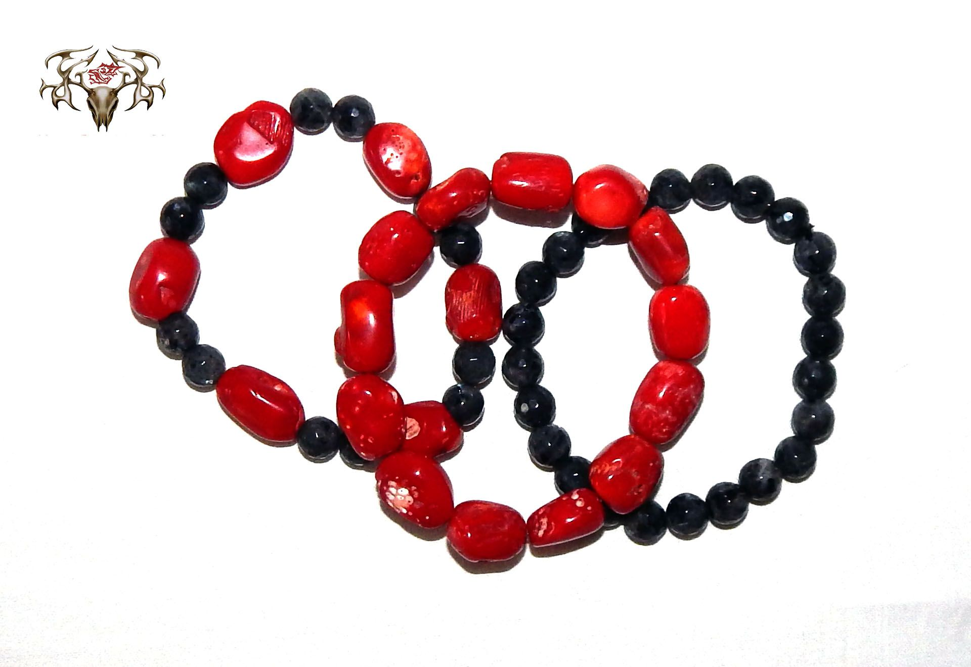 This is our Red Corral & Onyx Bracelet set we handmade with all natural red corral and 8mm onyx. We hand make and sell unique costume jewelry, pearl jewelry and all natural stone jewelry at wholesale prices at www.twistedthingamajigs.com
