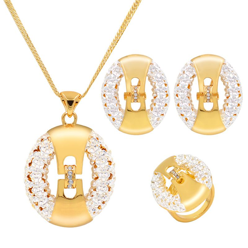 Sunny Jewelry Women Wedding Bridal Jewelry Sets Alloy Cubic Zirconia Necklace Pendant Earrings Ring Plant Flower For Party Gift