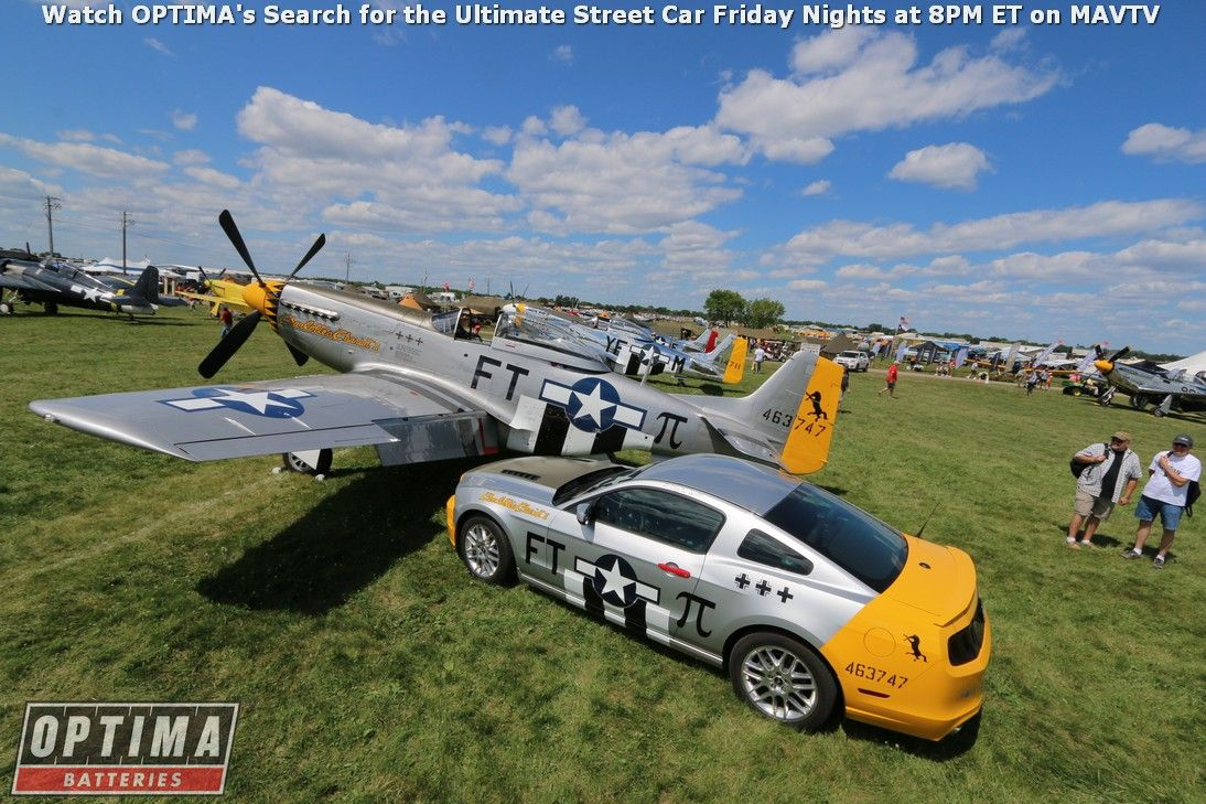 P51 mustang with a fordmustang at the eaa airventure