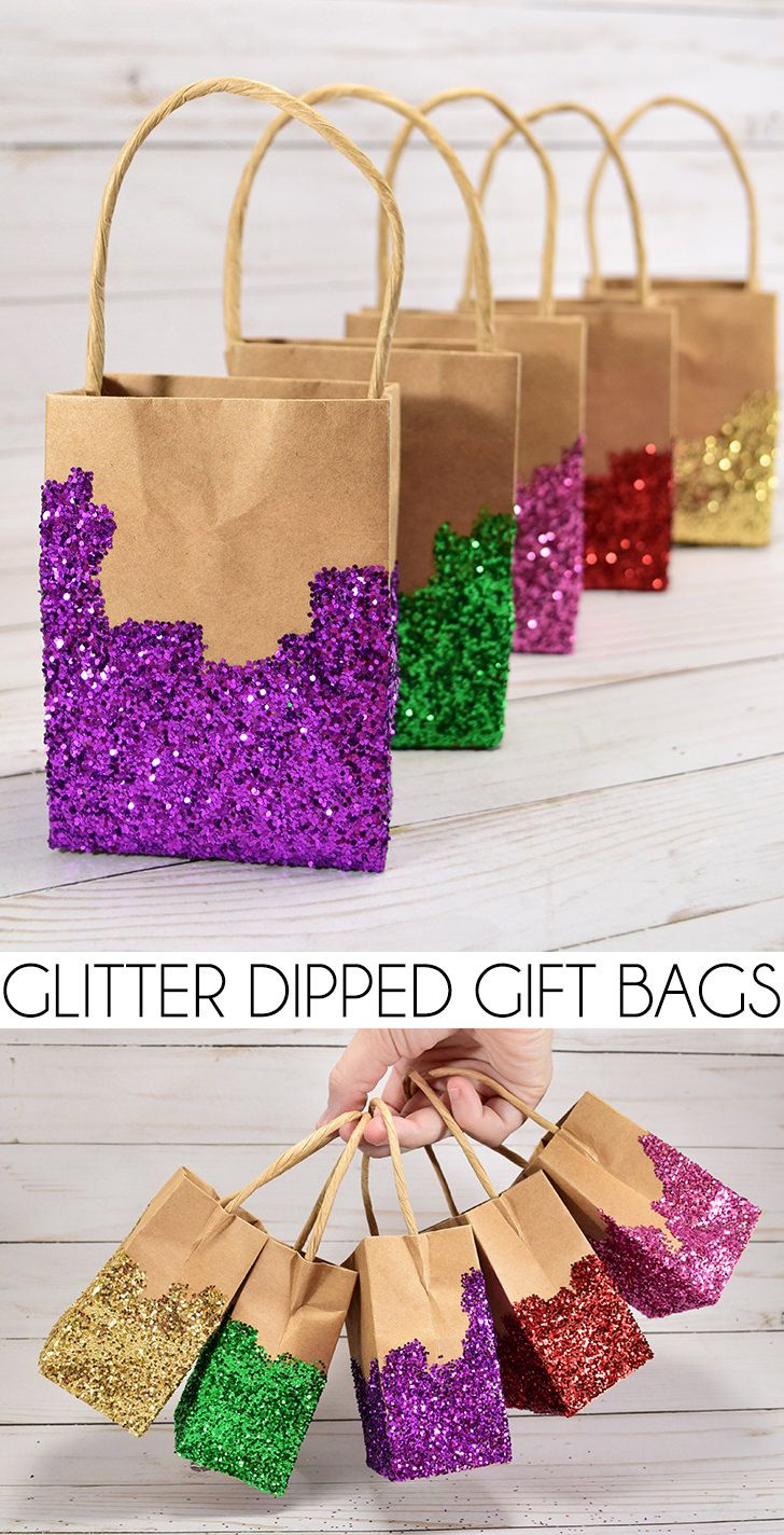 Glitter dipped gift bags negle Image collections