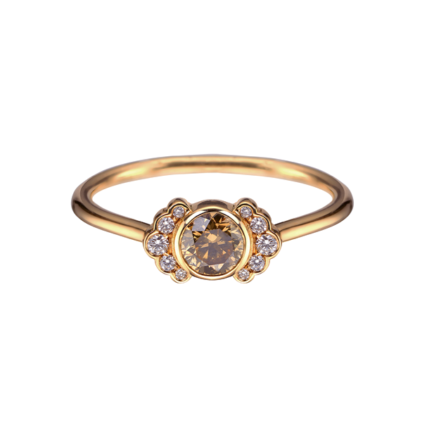 Dainty Round Sherry Diamond Rose Gold Ring Gold rings Rounding