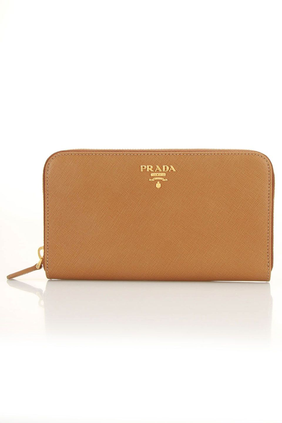 7040e4f11c98 beyondtherack.com The Prada Saffiano Metal Zipper Wallet In Gold & Caramel